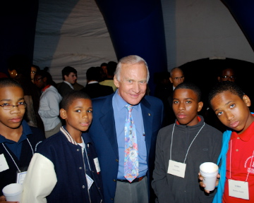 Buzz Aldrin with the students